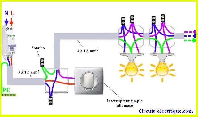branchement interrupteur simple allumage
