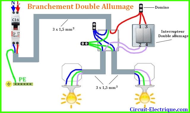 schema branchement interrupteur double allumage