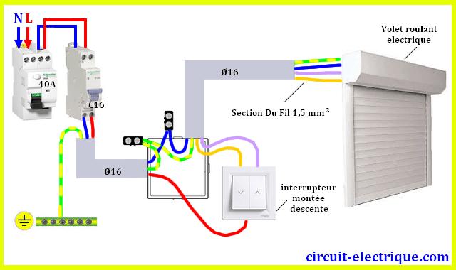 Branchement Volet roulant avec interrupteur