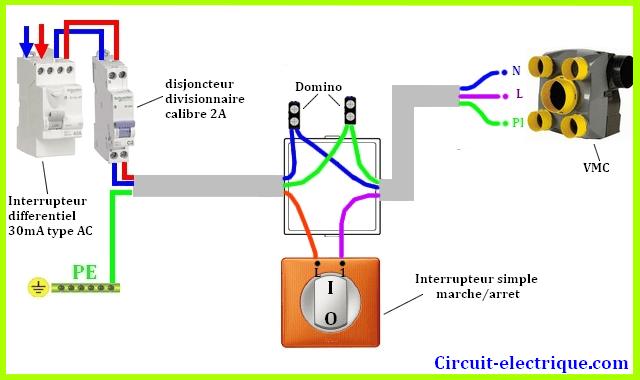 branchement vmc avec interrupteur simpel 1 vitesse