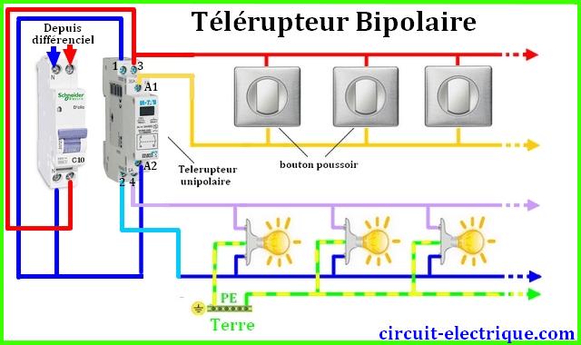 ranchement cablage telerupteur bipolaire