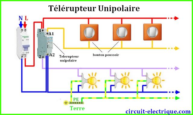schema branchement cablage telerupteur unipolaire